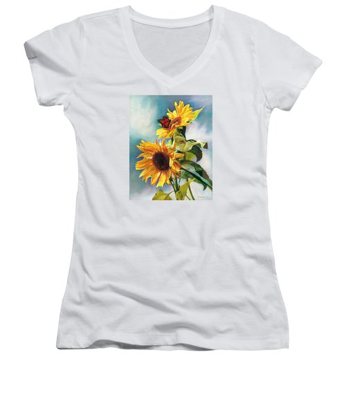 Women's V-Neck T-Shirt (Junior Cut) featuring the painting Summer by Svitozar Nenyuk
