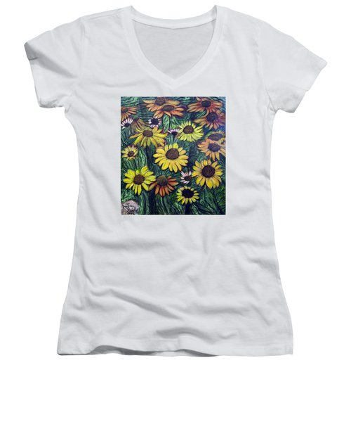 Women's V-Neck T-Shirt (Junior Cut) featuring the painting Summertime Flowers by Ron Richard Baviello