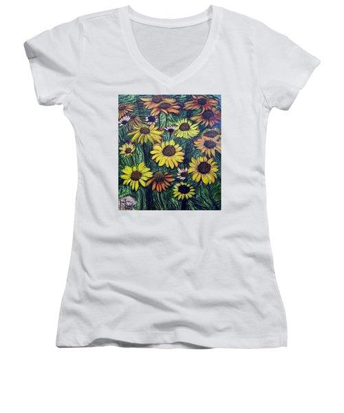 Summertime Flowers Women's V-Neck T-Shirt