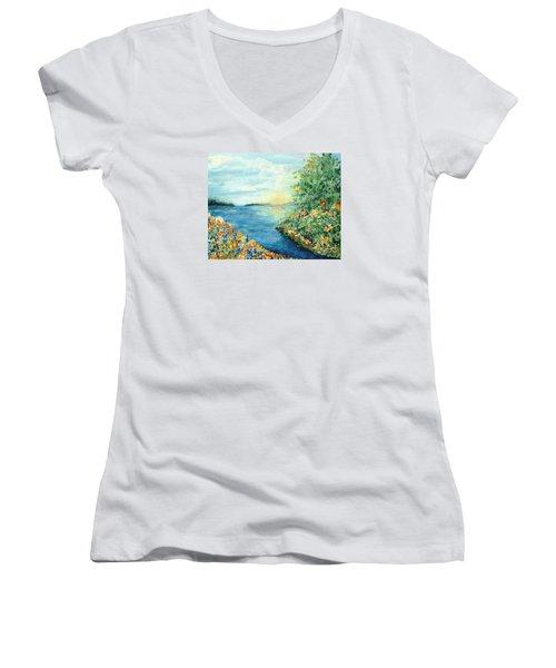 Sun And Moon Women's V-Neck T-Shirt (Junior Cut) by Holly Carmichael