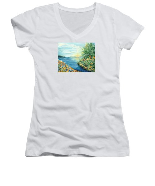 Sun And Moon Women's V-Neck (Athletic Fit)