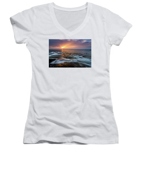 Sun Beams Halibut Pt. Rockport Ma. Women's V-Neck T-Shirt