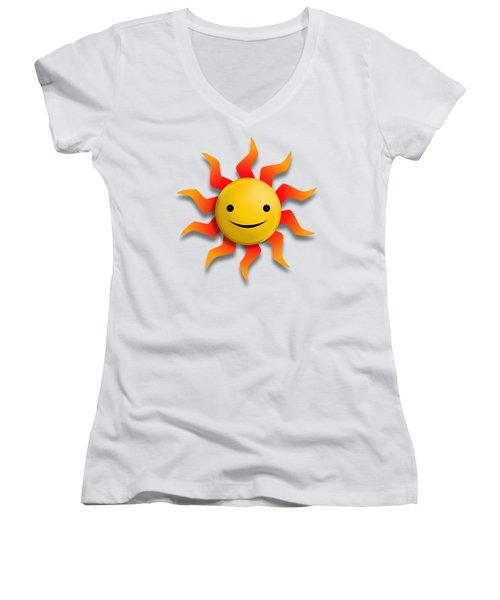 Women's V-Neck T-Shirt (Junior Cut) featuring the digital art Sun Face No Background by John Wills