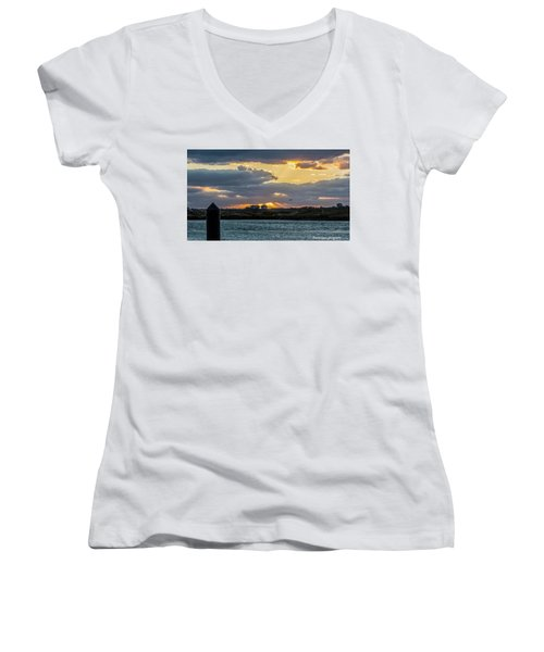 Sun Rays Over The Intracoastal  Women's V-Neck T-Shirt (Junior Cut) by Nance Larson