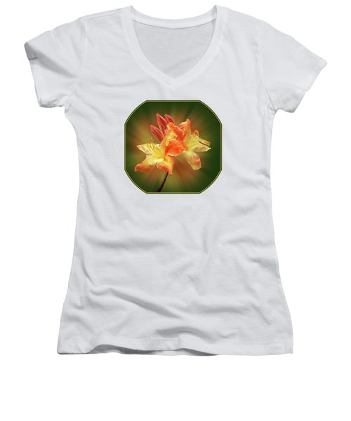 Sunburst Orange Azalea Women's V-Neck T-Shirt