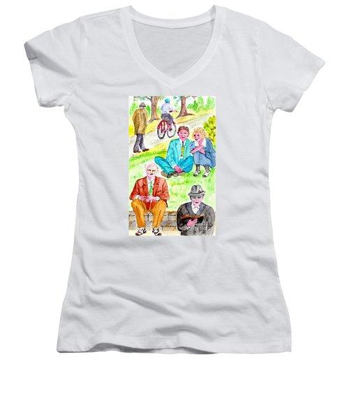 Sunday Morning In Prospect Park Women's V-Neck T-Shirt (Junior Cut)