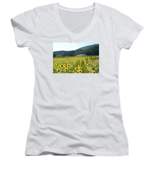 Sunflower Field Women's V-Neck T-Shirt (Junior Cut) by Annlynn Ward