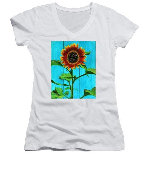 Sunflower On Blue Women's V-Neck (Athletic Fit)