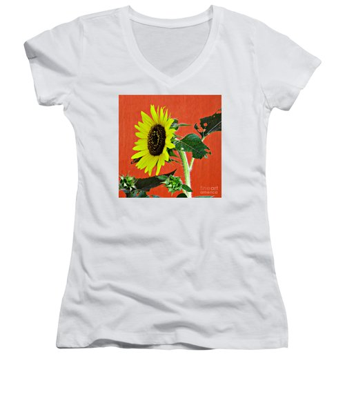 Women's V-Neck T-Shirt (Junior Cut) featuring the photograph Sunflower On Red 2 by Sarah Loft