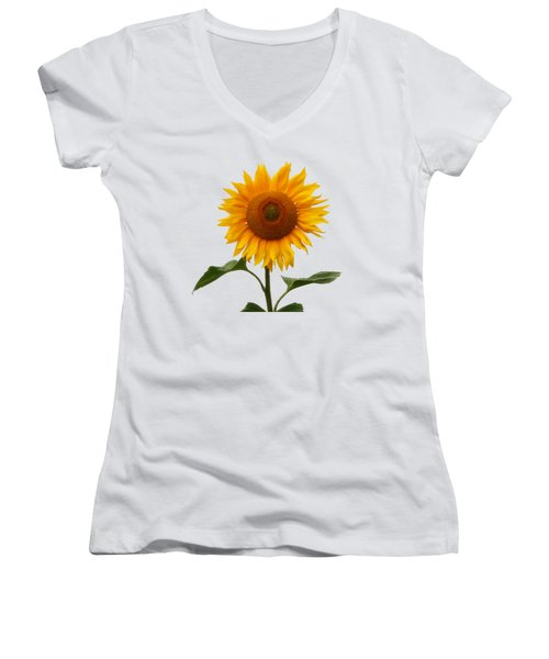 Sunflower On White Women's V-Neck (Athletic Fit)