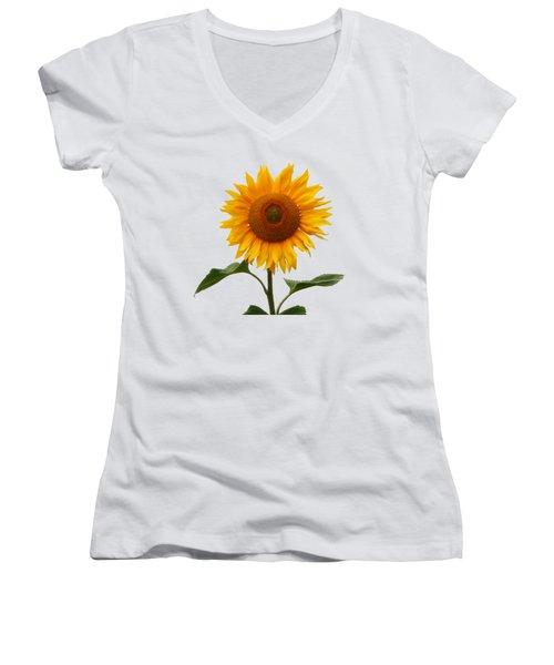 Sunflower On White Women's V-Neck (Athletic Fit)