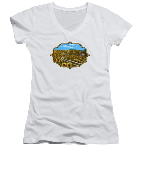Women's V-Neck T-Shirt featuring the painting Sunflower Road by Anastasiya Malakhova
