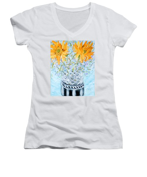 Sunflowers In A Vase. Painting Women's V-Neck (Athletic Fit)