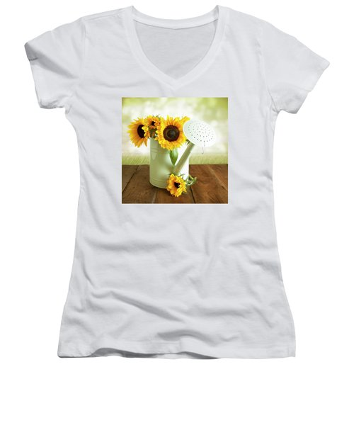 Sunflowers In An Old Watering Can Women's V-Neck T-Shirt
