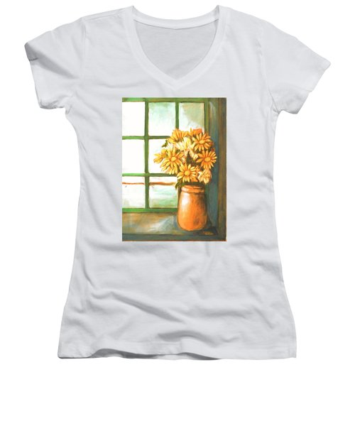 Women's V-Neck T-Shirt (Junior Cut) featuring the painting Sunflowers In Window by Winsome Gunning