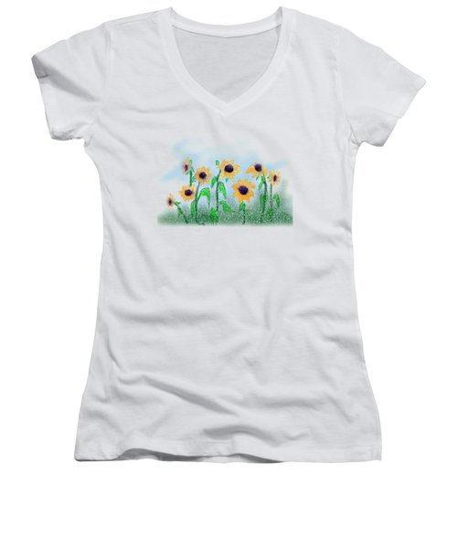 Sunflowers Women's V-Neck (Athletic Fit)