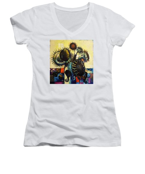 Women's V-Neck T-Shirt (Junior Cut) featuring the painting Sunflowers by Mikhail Zarovny