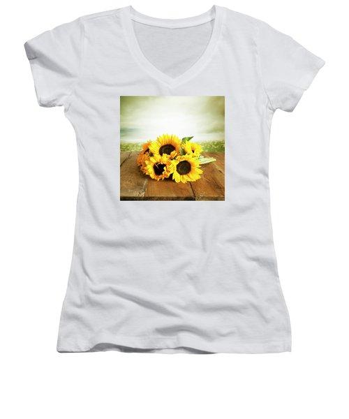 Sunflowers On A Table Women's V-Neck T-Shirt