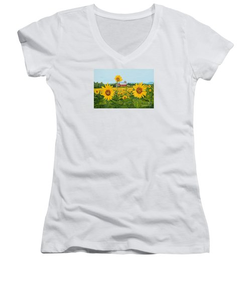 Sunflowers On Route 45 - Pennsylvania- Autumn Glow Women's V-Neck