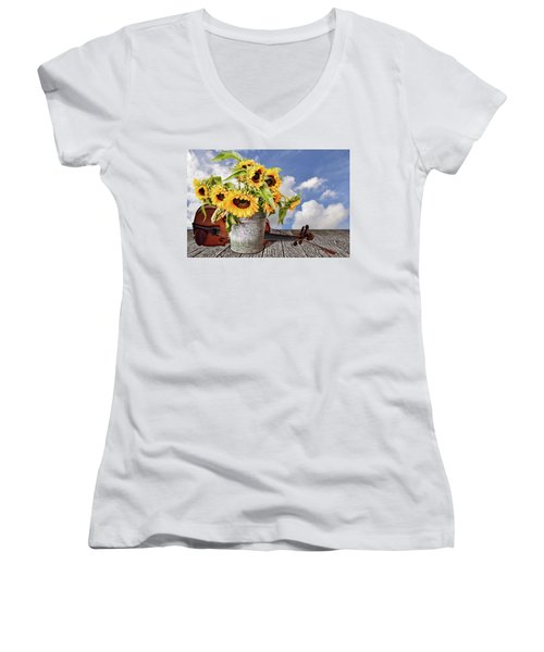 Sunflowers With Violin Women's V-Neck T-Shirt