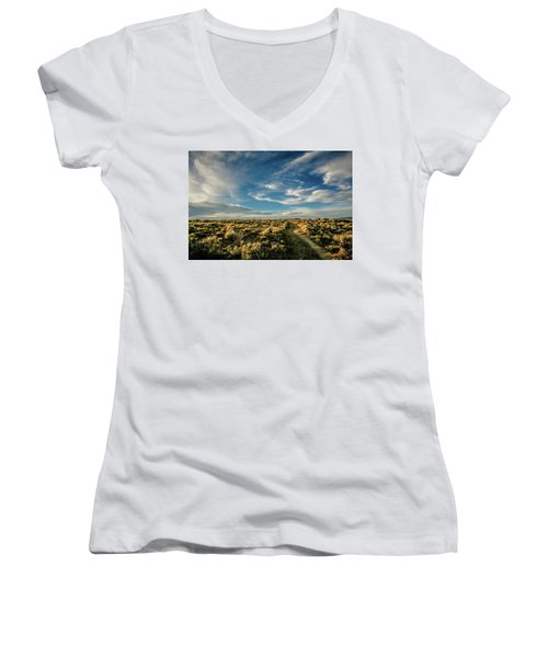 Women's V-Neck T-Shirt (Junior Cut) featuring the photograph Sunlight For Photographers by Marilyn Hunt