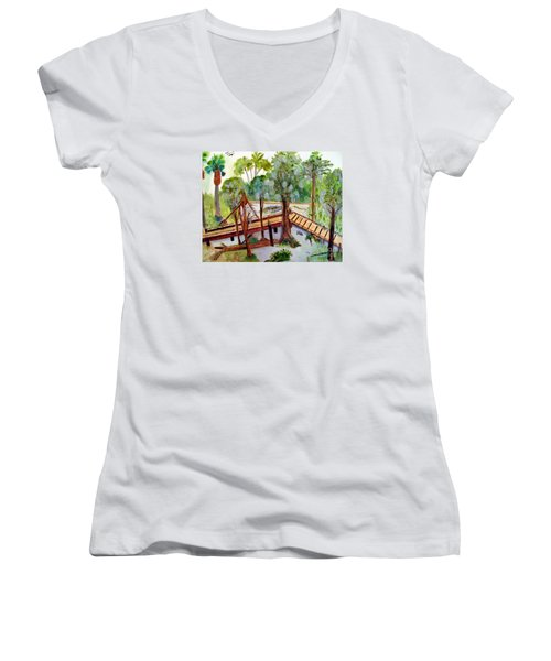 Sunny Day In Central Florida Women's V-Neck T-Shirt (Junior Cut) by Sandy McIntire