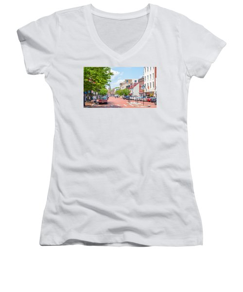 Women's V-Neck T-Shirt featuring the photograph Sunny Day On Main by Charles Kraus