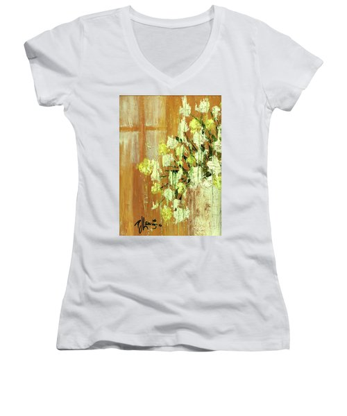 Sunny Flowers Women's V-Neck T-Shirt