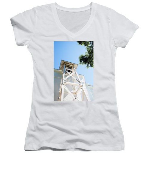 Women's V-Neck T-Shirt (Junior Cut) featuring the photograph Sunny Game Day In Athens by Parker Cunningham