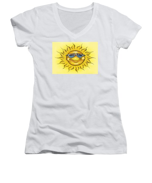 Sunny Women's V-Neck T-Shirt (Junior Cut) by Kevin Middleton