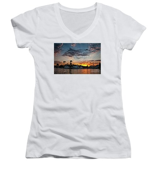 Sunrays Over Huntington Harbour Women's V-Neck T-Shirt (Junior Cut) by Peter Dang