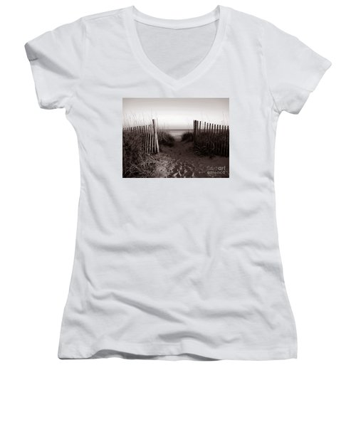 Sunrise At Myrtle Beach Sc Women's V-Neck T-Shirt (Junior Cut) by Susanne Van Hulst