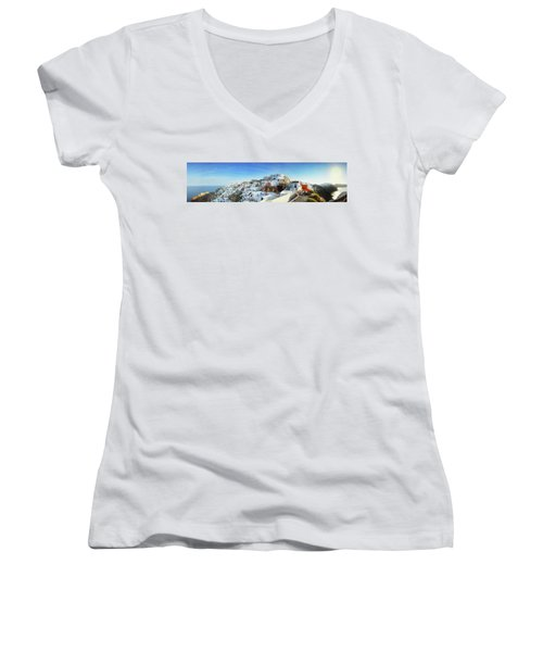 Sunrise At Oia Women's V-Neck (Athletic Fit)