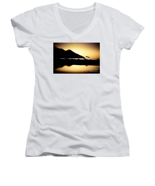 Sunrise At Sea Coast Brown Women's V-Neck