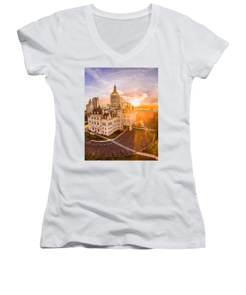Women's V-Neck T-Shirt (Junior Cut) featuring the photograph Sunrise In Hartford Connecticut by Petr Hejl