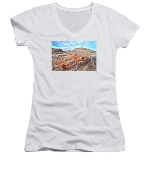 Sunrise On Sandstone In Valley Of Fire Women's V-Neck (Athletic Fit)