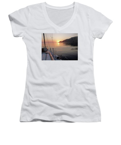 Women's V-Neck T-Shirt (Junior Cut) featuring the photograph Sunrise On The Aegean by Christin Brodie