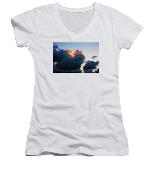 Sunrise On The Atlantic #10 Women's V-Neck (Athletic Fit)
