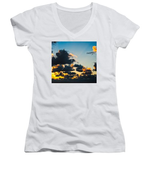 Sunrise On The Atlantic #14 Women's V-Neck (Athletic Fit)