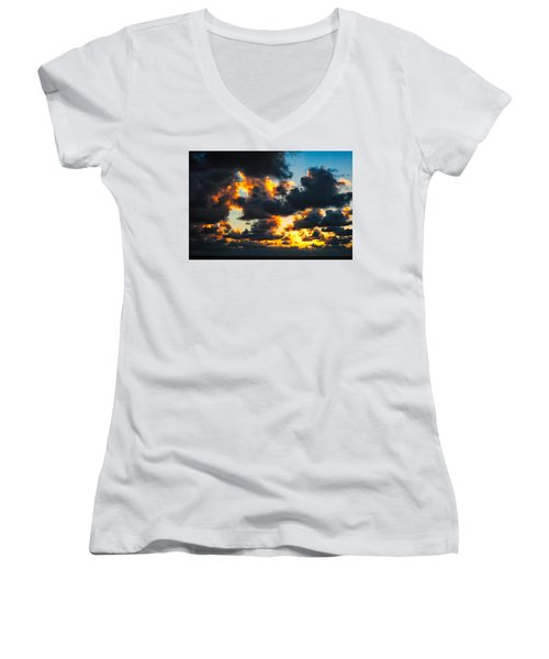 Sunrise On The Atlantic #15 Women's V-Neck (Athletic Fit)