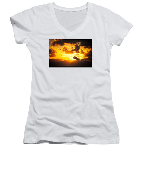 Sunrise On The Atlantic #17 Women's V-Neck (Athletic Fit)