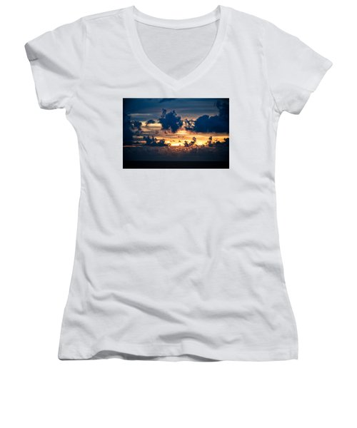 Sunrise On The Atlantic #28 Women's V-Neck (Athletic Fit)