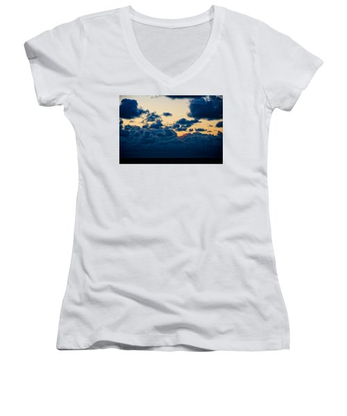 Sunrise On The Atlantic #5 Women's V-Neck (Athletic Fit)