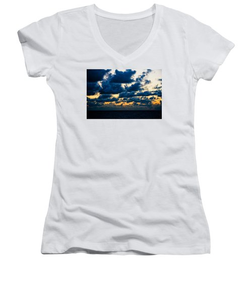 Sunrise On The Atlantic #7 Women's V-Neck (Athletic Fit)