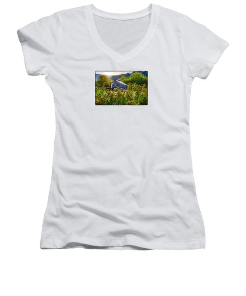 Women's V-Neck T-Shirt (Junior Cut) featuring the photograph Sunrise On The Farm by R Thomas Berner