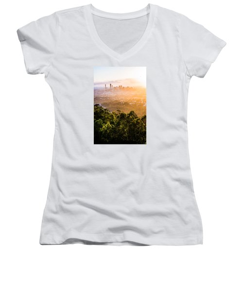 Sunrise Over Brisbane Women's V-Neck T-Shirt (Junior Cut) by Parker Cunningham