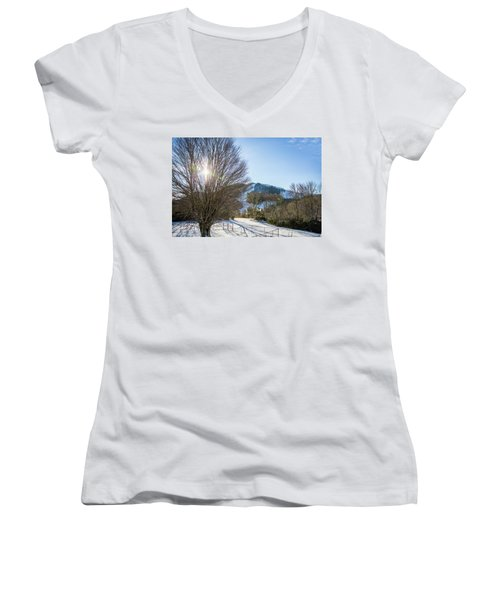 Sunrise Over Cataloochee Ski Women's V-Neck