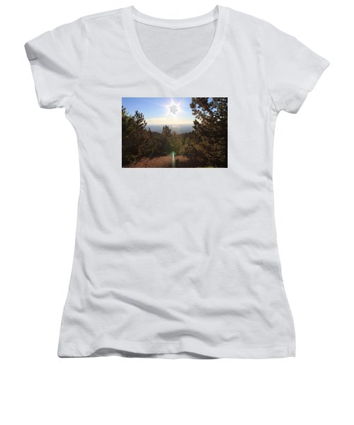 Women's V-Neck T-Shirt (Junior Cut) featuring the photograph Sunrise Over Colorado Springs by Christin Brodie