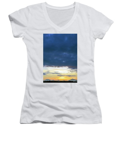 Sunrise Over The Cascades Women's V-Neck (Athletic Fit)