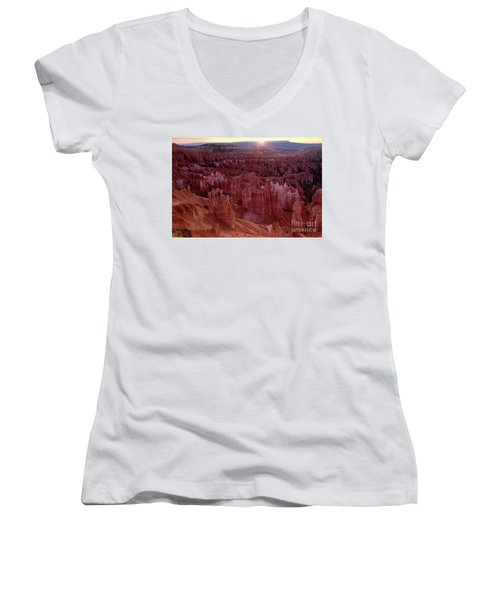 Sunrise Over The Hoodoos Bryce Canyon National Park Women's V-Neck (Athletic Fit)